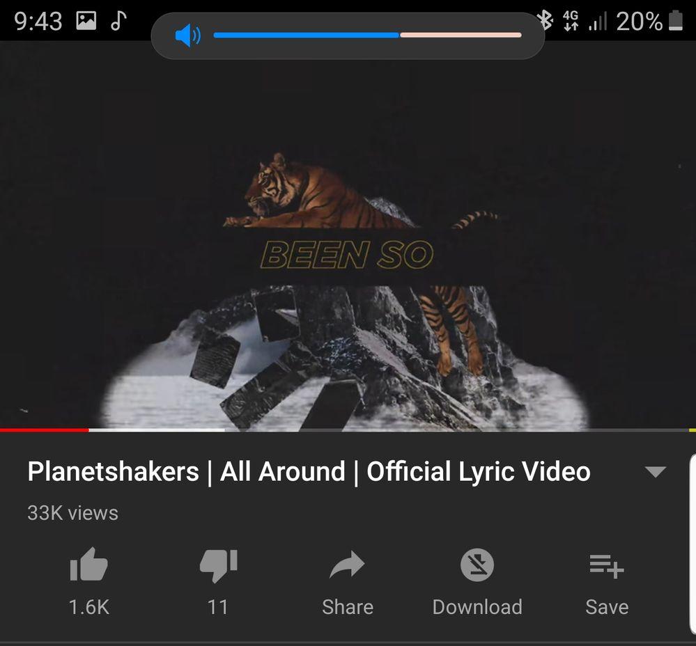 Cropped. Kini volume jadi kecil dan minimalis saat memainkan video/membuka aplikasi musik.
