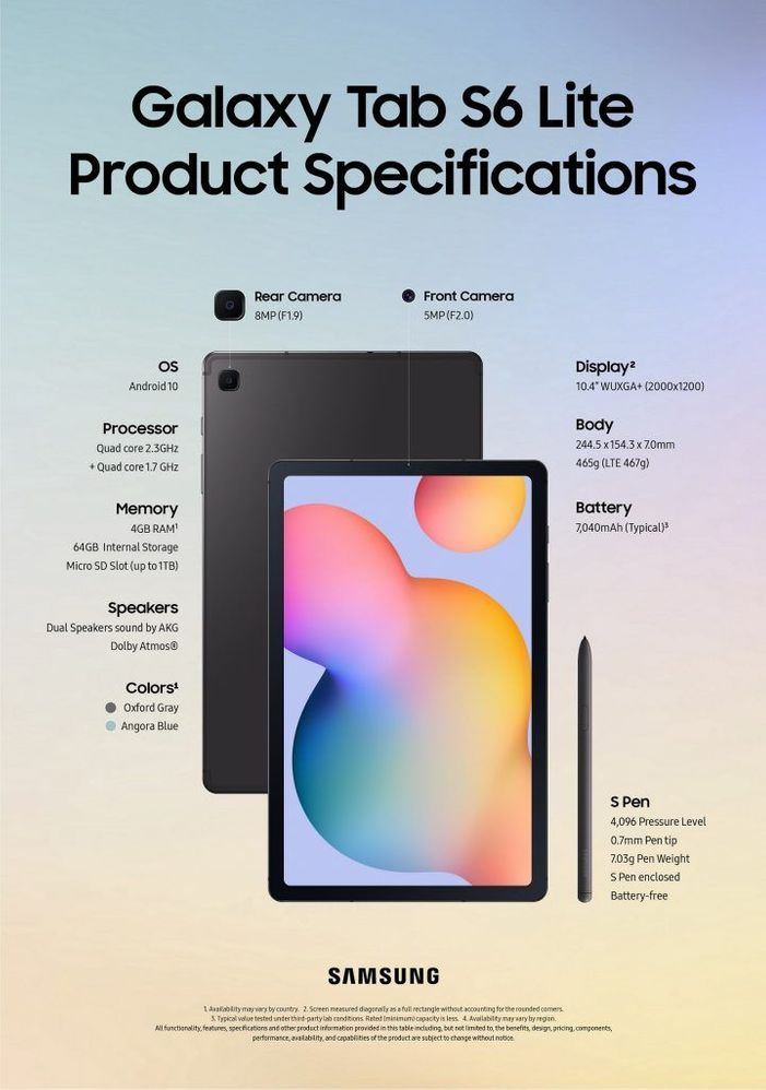 Tab S6 Lite Product Specifications