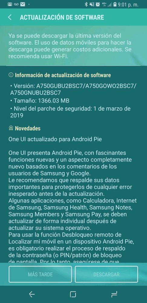 Ya disponible Android Pie A7 2018 Rom stock - Samsung Global US