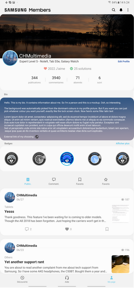 The app's enhanced profile