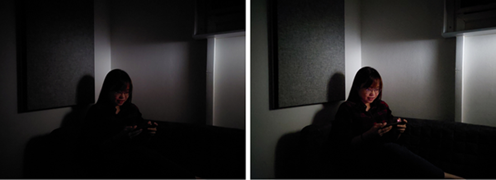 Comparison of photo shot with default camera settings (left), and with Night Mode (right) (Images taken on Samsung Galaxy A52)