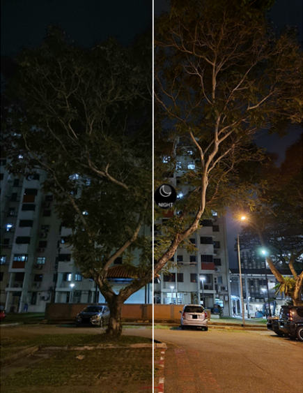 Outdoors, Night Mode (right) also works to make shots more clear and vivid. (Images taken on Samsung Galaxy S21 Ultra 5G. Left: Default camera, Right: Night Mode)
