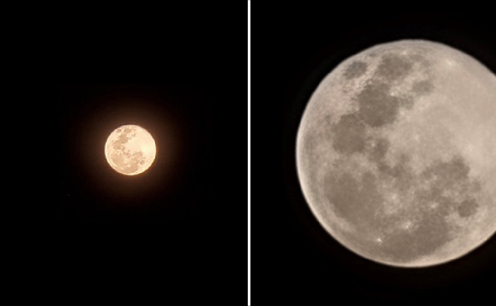 While the 30x zoom can snap a clear picture of the bright moon (left), max out the zoom to make the most of the Space Zoom function (right) (Images taken on Samsung Galaxy S21 Ultra 5G)