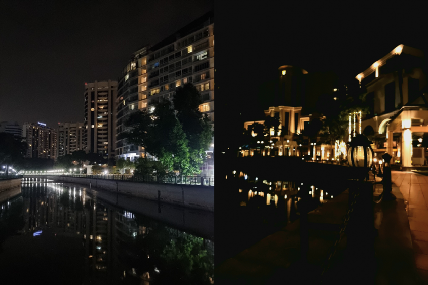 Default settings (left) work in well-lit area. But if you're looking to have fun with reflective surfaces, toggle your smartphone's shutter speed settings in Pro Mode (right) to give you greater control over the light. (Images taken on Samsung Galaxy S21 Ultra 5G) Settings (for right photo): ISO 1600, Shutter speed 1/50s